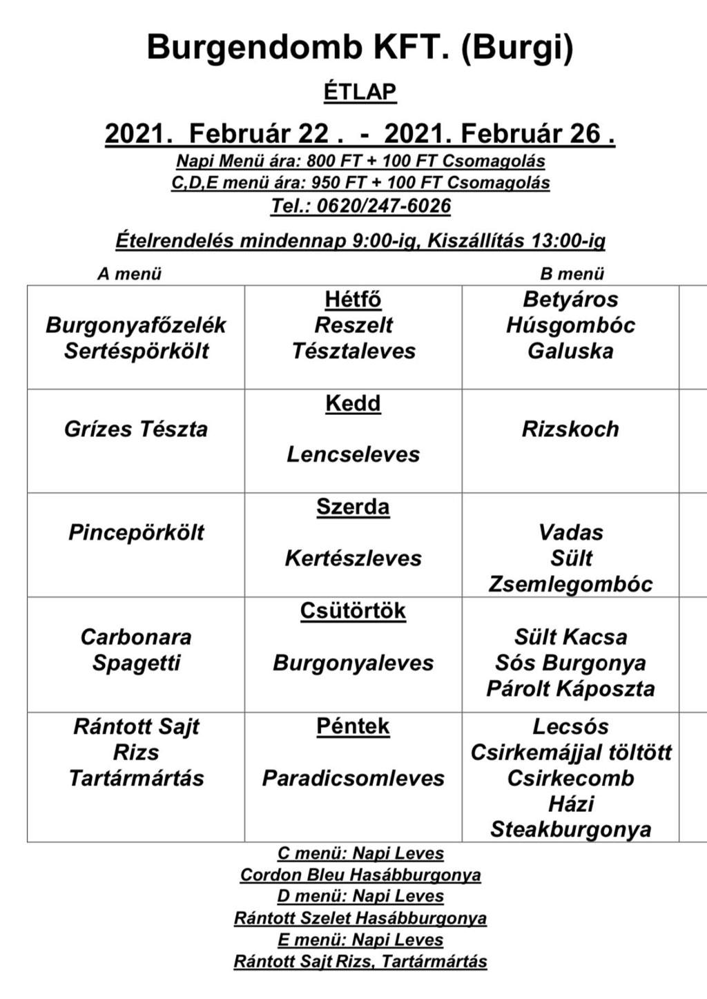 napi étrend rendelés)